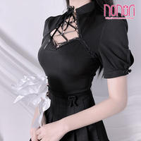 中華ブラックチャイナドレス半袖Tシャツ
