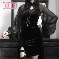 中華ふんわり袖チャイナドレス 黒