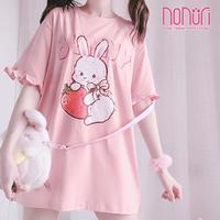 可愛いピンクいちごうさぎちゃん半袖Tシャツ