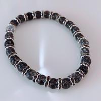 天然石 パワーストーン ブレスレット 水晶クラック(黒)