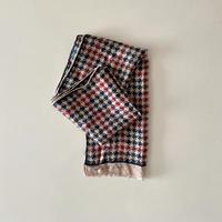 vintage scarf カラフルな千鳥格子のロングスカーフ