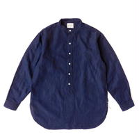 Boncoura Band Collar Shirt Indigo Linen