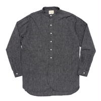 Boncoura Band Collar Shirt Black Chambray