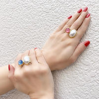 r070 antique like glass× pearl ring