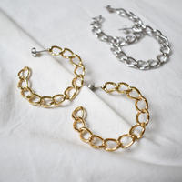 t009/t010   metal chain hoop earring / pierce