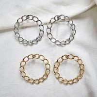 t007  metal chain hoop earring / pierce