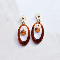 tortoiseshell pattern round earring / pierce