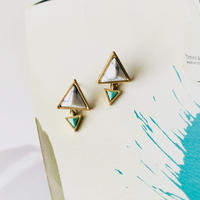 marble  turquoise triangle  pierce