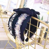 tweed × pearl ribbon hair band