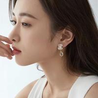 aurora flower × clear drop pierce/earring