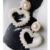 vintage heart pearl pierce