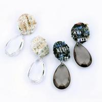 tweed clear drop pierce