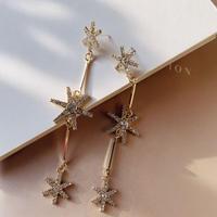 crystal gold long pierce