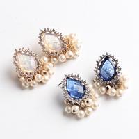 vintage stone×pearl pierce