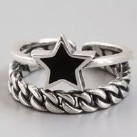 silver925 star × chain ring