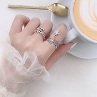 silver925 star chain ring