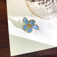 blue clear flower open ring