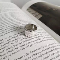 silver925 metal deep ring