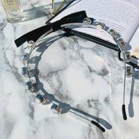 ribbon × stone hair band
