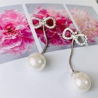 ribbon pearl chain  pierce