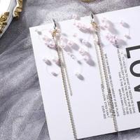 pearl hoop long chain pierce