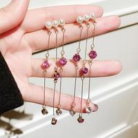 Pearl×rose stone sway pierce