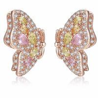butterfly pink stone  pierce