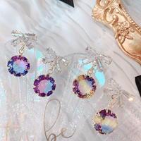 ribbon × clear stone pierce