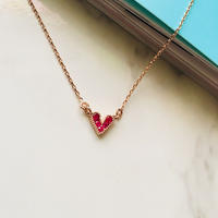 pink gold  heart necklace