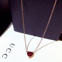ruby heart  pinkgold necklace