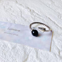 silver925 black stone × spine ring