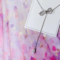 ribbon drop stone necklace