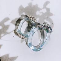 clear × silver loop pierce