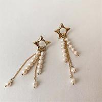 star × baroque pearl long pierce