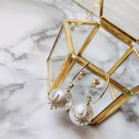 crystal pearl hoop pierce