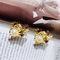 metal gold pearl pierce