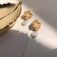 vintage flower pearl pierce