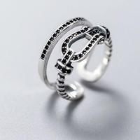silver925 black stone ring