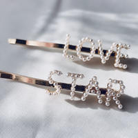 love & star pearl hairpin 2set