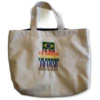 Eu rio:ブラジル国旗・LGBTQIA➕コットンキャンパス×デニム地トートバッグ/Mサイズ