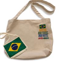 ブラジル国旗/Bom dia:コットンキャンパス地・斜め掛けショルダーバッグ