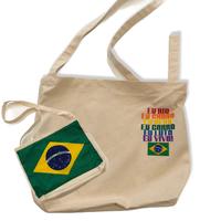 ブラジル国旗/Eu RIO:コットンキャンパス地・斜め掛けショルダーバッグ