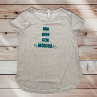 01 Não vivo sem música:レディースTシャツ・XS~Sサイズ