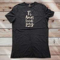 047: Fé, amor, saúde, paz:メンズコットンジャージーラウンドネックTシャツ・M~Lサイズ