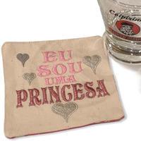 Porta Copos/Eu sou princesa:刺繍入りコースター: 12cm×12cm