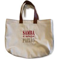 Samba é minha paixão :コットンキャンパス×デニム地トートバッグ/Mサイズ