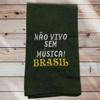 24:Não vivo sem música! BRASIL/Verde Musgo:ワンポイント刺繍入りマルチクロス42×50