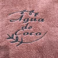 40:Água de Coco:コットンパイル・ワンポイント刺繍入りバスタオル:70×140