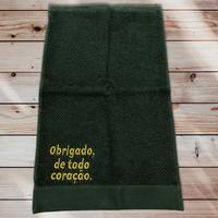 70:Obrigado, de todo coração:ジャガード織りワンポイント刺繍入りタオル:30×50