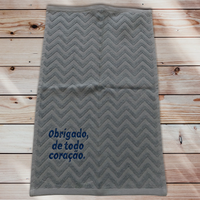 47:Muito obrigado:ジャガード織りワンポイント刺繍入りタオル:30×50